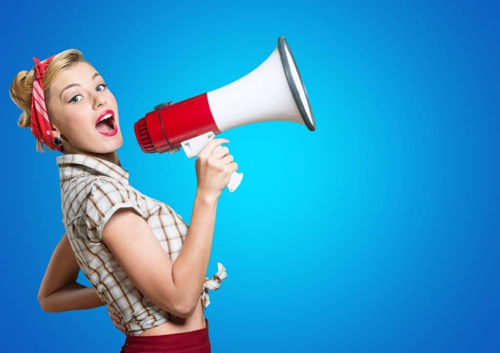 Megaphone, Women, Shouting.